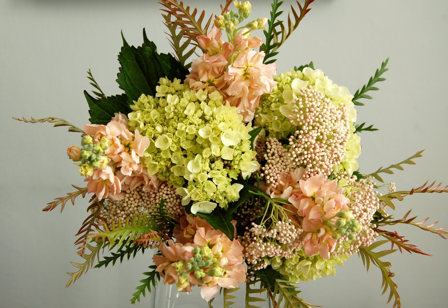 baby hydrangea, blush stock, rice flower, peach, pale pink, green, spring bouquet