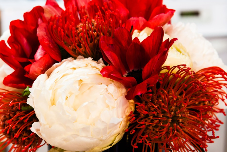 White Peony and Red Anemone Centerpiece
